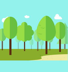 green landscape with forest flat design vector image