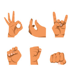 Hands gestures in six icons on white background vector