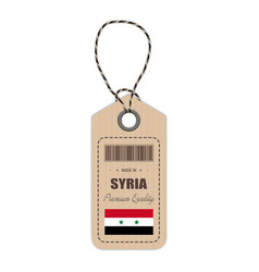 hang tag made in syria with flag icon isolated on vector image
