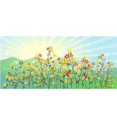 The green meadow with flowers vector image vector image