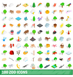 100 zoo icons set isometric 3d style vector