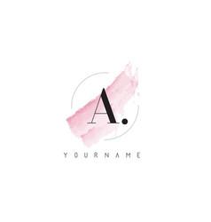 A letter logo with pastel watercolor aquarella vector