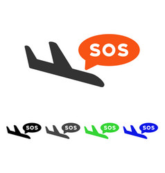 airplane sos message flat icon vector image