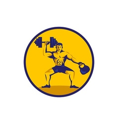 Athlete Lifting Kettlebell Dumbbell Circle Retro vector image