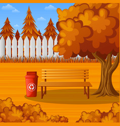 autumn park bench under the tree with trash bin vector image
