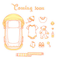 Baby items with text coming soon vector