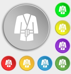 Bathrobe icon sign Symbol on eight flat buttons vector