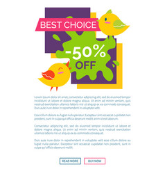 Best choice 50 off sale label with singing birds vector