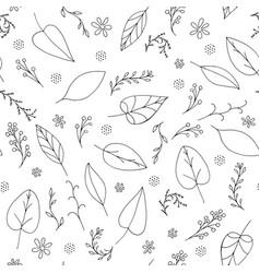 black doodle seamless floral pattern vector image