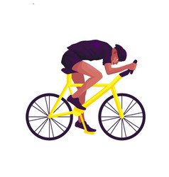 black man in black sportswear rides a bicycle on a vector image