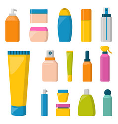 bottles of cosmetic cosmetology lotion makeup vector image