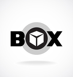 Box word sign with simple image of a box vector