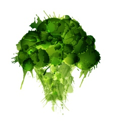 broccoli made colorful splashes on white backgr vector image
