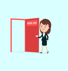 businesswoman walk and open red door with new job vector image