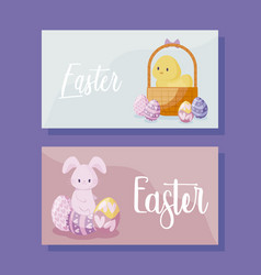 cards with cute rabbit and chicken of easter vector image