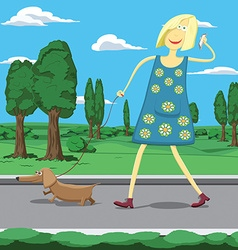 Cartoon girl walking a dog in park tolking on the vector