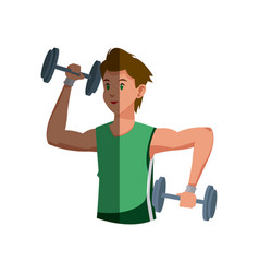 cartoon sport man weight lifting design graphic vector image