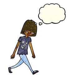 Cartoon teenager with thought bubble vector
