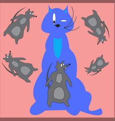 Cat and rat vector