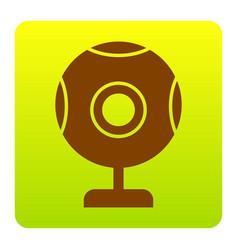 chat web camera sign brown icon at green vector image
