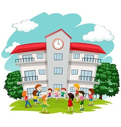 Children playing in front of school vector image