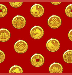 Chinese seamless pattern with traditional coins vector