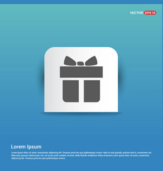 christmas gift box icon - blue sticker button vector image