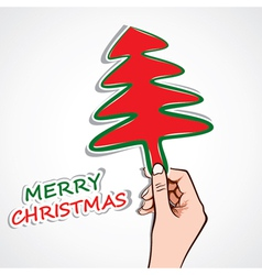 christmas tree in hand vector image