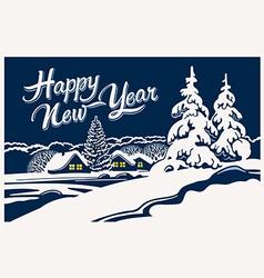 Christmas winter landscape design vector image