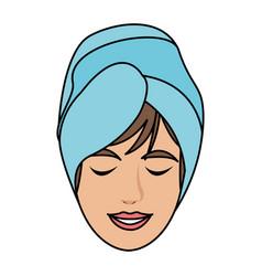 Color image cartoon face woman with towel in head vector
