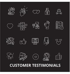 customer testimonials editable line icons vector image