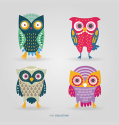 cute artistic owls set vector image
