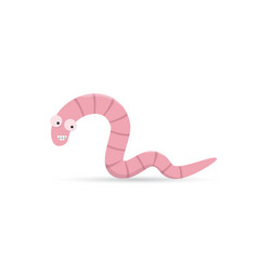 cute funny smiling worm with teeth vector image