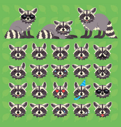 Cute raccoon in different poses and emotions vector