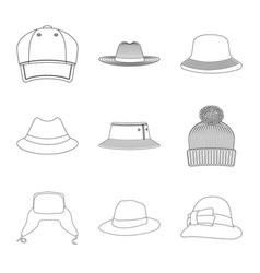 Design of headgear and cap icon collection vector