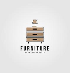 drawer furniture hardwood logo design furniture vector image