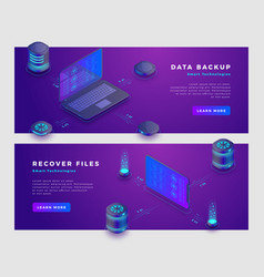 files recover and data backup concept banner vector image