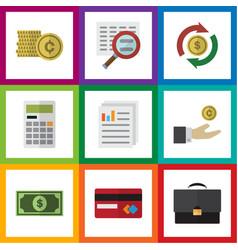 Flat icon finance set of interchange document vector