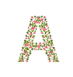 Floral font with with spring pink flowers Romantic vector