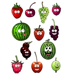 Fresh cartoon berries and fruits vector image