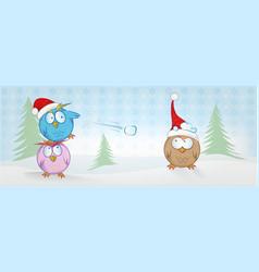 funny owl cartoon on christmas banner christmas vector image