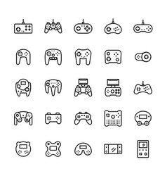 gamepads icon set in thin line style symbols vector image