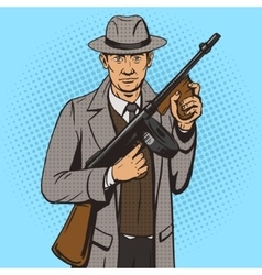 Gangster with machine gun pop art style vector