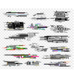 glitch elements realistic style design screen vector image