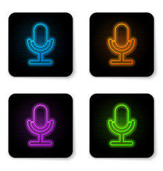 glowing neon microphone icon isolated on white vector image