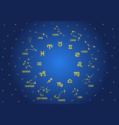 gold zodiac signs in blue sky vector image