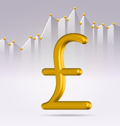 Golden pound sign over chart vector image