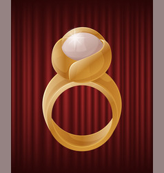 Golden ring with bright pearl jewelry vector