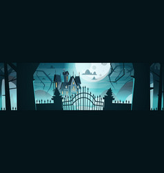 Gothic castle behind gates in moonlight scary vector