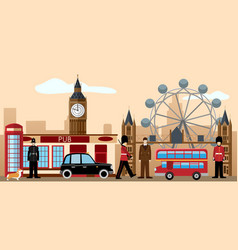 great britain and london icon set vector image